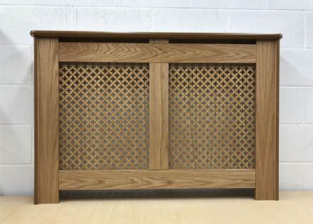 Oak Veneer radiator cover finish coated with lacquer a choice of  pattern grille design.
